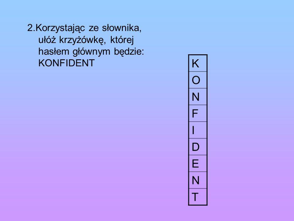 2.Korzystając ze słownika, ułóż krzyżówkę, której hasłem głównym będzie: KONFIDENT K O N F I D E N T
