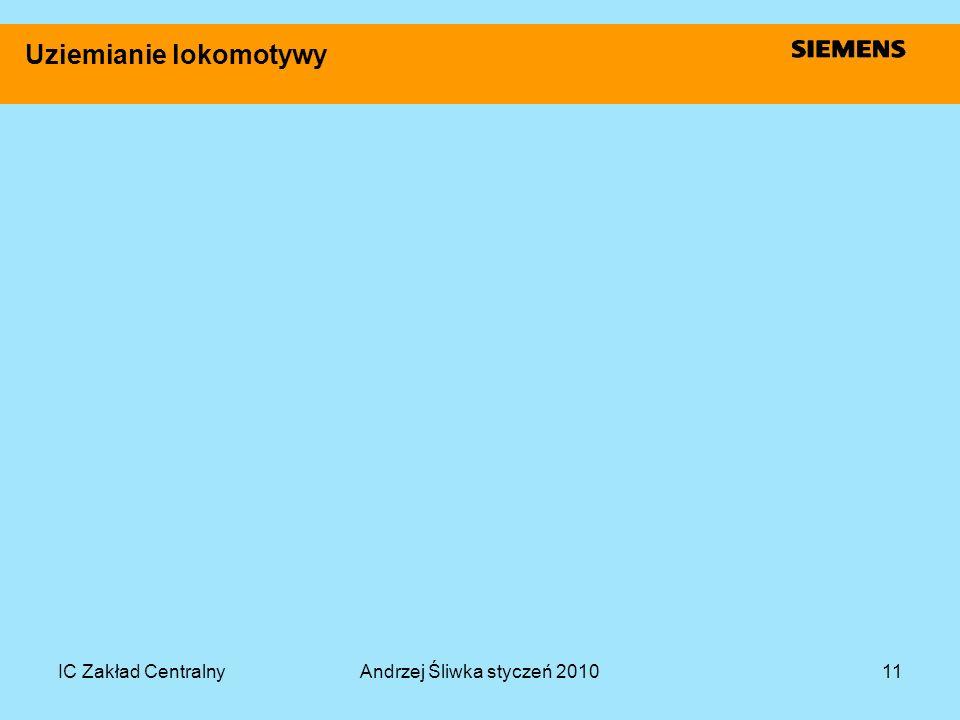 IC Zakład CentralnyAndrzej Śliwka styczeń 201011 Uziemianie lokomotywy