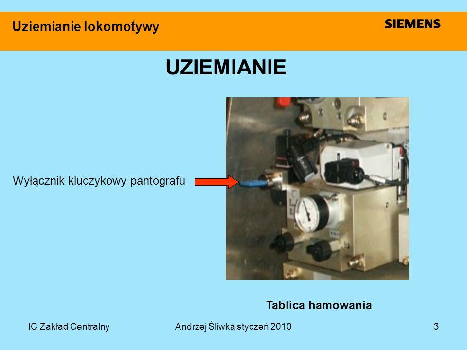 IC Zakład CentralnyAndrzej Śliwka styczeń 20103 Uziemianie lokomotywy UZIEMIANIE Wyłącznik kluczykowy pantografu Tablica hamowania