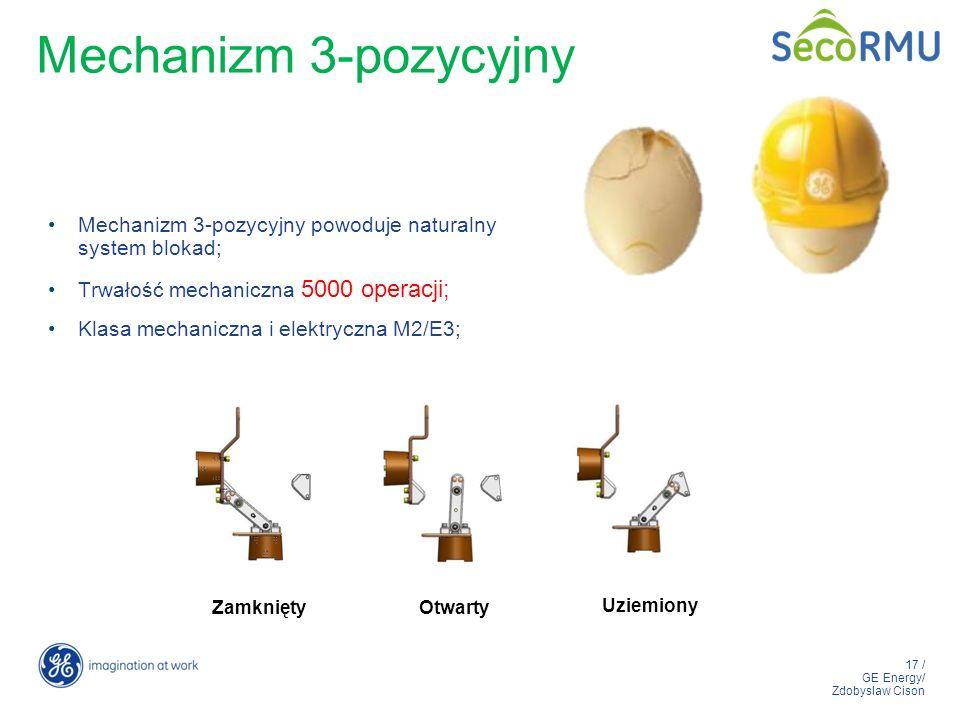 17 / GE Energy/ Zdobyslaw Cison Mechanizm 3-pozycyjny Mechanizm 3-pozycyjny powoduje naturalny system blokad; Trwałość mechaniczna 5000 operacji; Klas