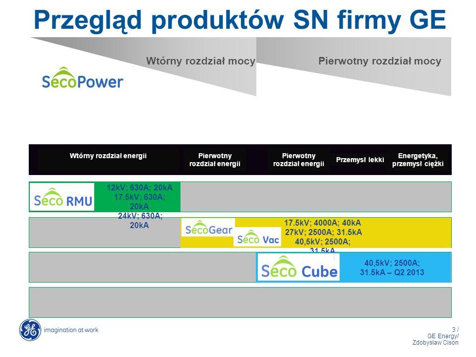 3 / GE Energy/ Zdobyslaw Cison Przegląd produktów SN firmy GE Wtórny rozdział mocyPierwotny rozdział mocy 12kV; 630A; 20kA 17.5kV; 630A; 20kA 24kV; 63