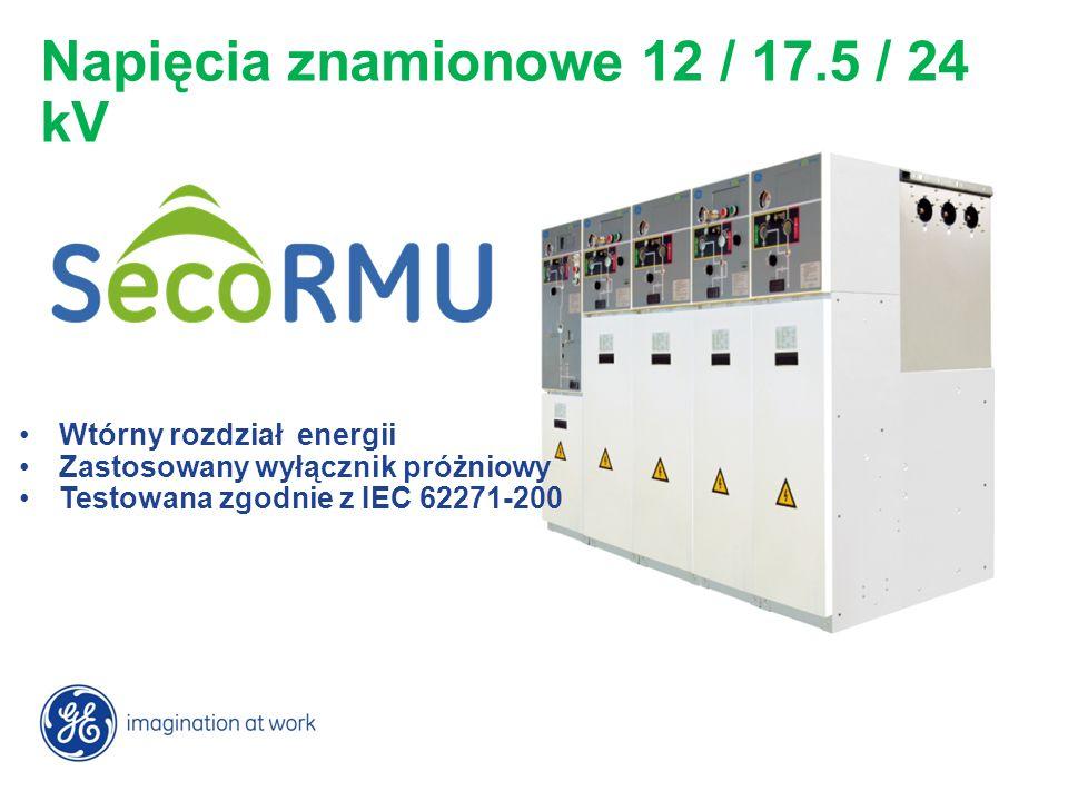 Wtórny rozdział energii Zastosowany wyłącznik próżniowy Testowana zgodnie z IEC 62271-200 Napięcia znamionowe 12 / 17.5 / 24 kV