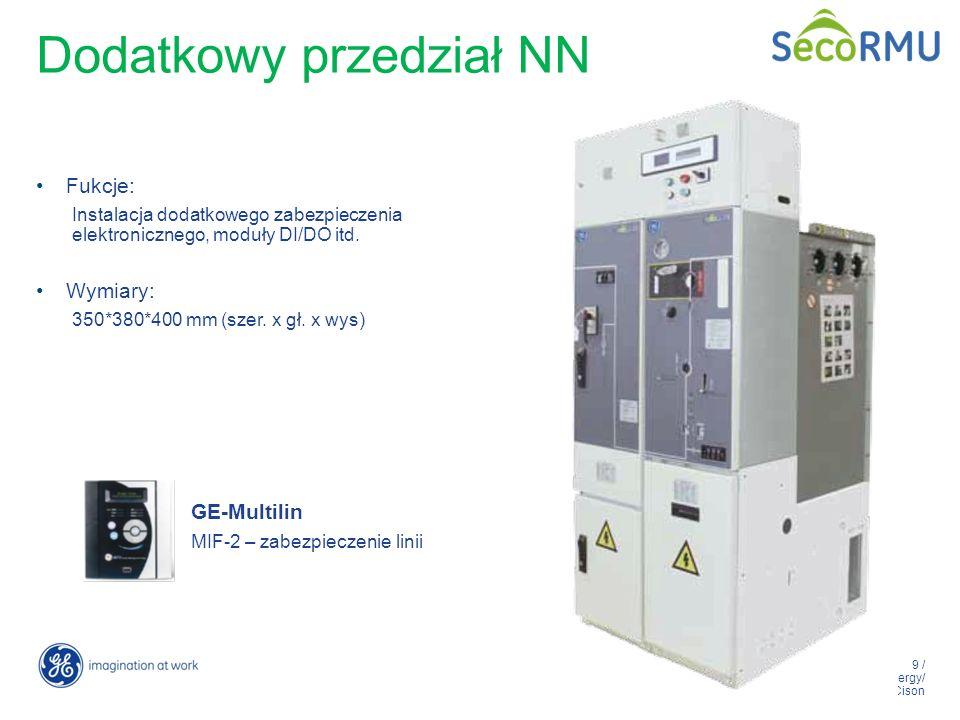 9 / GE Energy/ Zdobyslaw Cison Dodatkowy przedział NN Fukcje: Instalacja dodatkowego zabezpieczenia elektronicznego, moduły DI/DO itd. Wymiary: 350*38