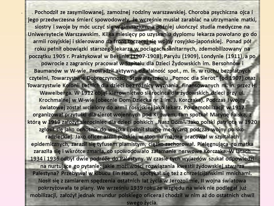 . Pochodził ze zasymilowanej, zamożnej rodziny warszawskiej. Choroba psychiczna ojca i jego przedwczesna śmierć spowodowały, że wcześnie musiał zarabi