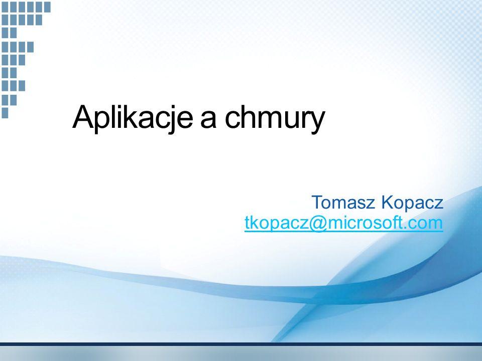 Opcje przechowywania Zaprojektowane dla chmury; 3 repliki Gwarantowana spójność Dostępność bezpośrednio z Internetu, przez REST API (opis na MSDN)opis na MSDN Bardzo pomocny przykład StorageClient Prawdopodobnie przyszłe formalne API Azure QueueKolejka; komunikacja Web-Worker role Azure BlobSystem plików; ścieżka + dane binarne Azure Table Arkusz z miliardami wierszy z różnymi zestawami kolumn w każdym wierszu.