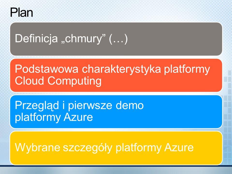 Workflow Service - zadanie Mechanizm orkiestracji w chmurze Pod spodem Windows Workflow Foundation Operacje: IfElse ; Sequence ; Suspend ; Terminate ; While.NET Workflow Service CloudDelay CloudHttpSend ; CloudHttpReceive CloudServiceBusSend CloudXPathRead ; CloudXPathUpdate API do tworzenia przepływu, uruchamiania instancji, wysyłania komunikatu