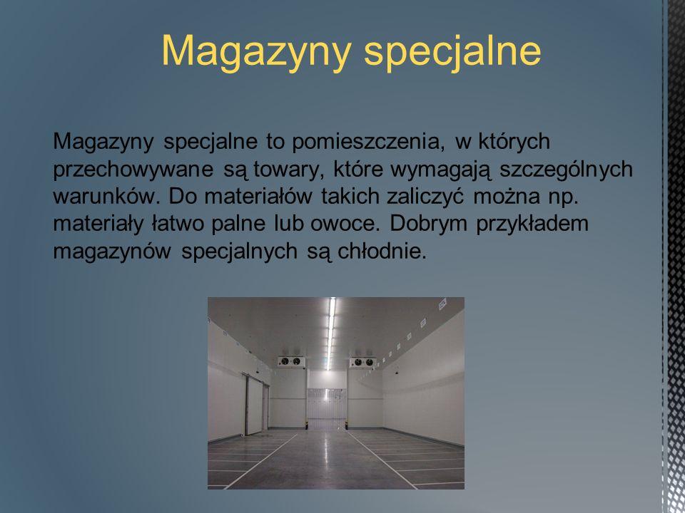 Podział magazynów, ze względu na wielkość składowanych materiałów magazyn niskiego składowania (do 4,2 metra), magazyn średniego składowania (4,2 - 7 metrów), magazyn wysokiego składowania, wielokondygnacyjny (7 - 25 metrów).