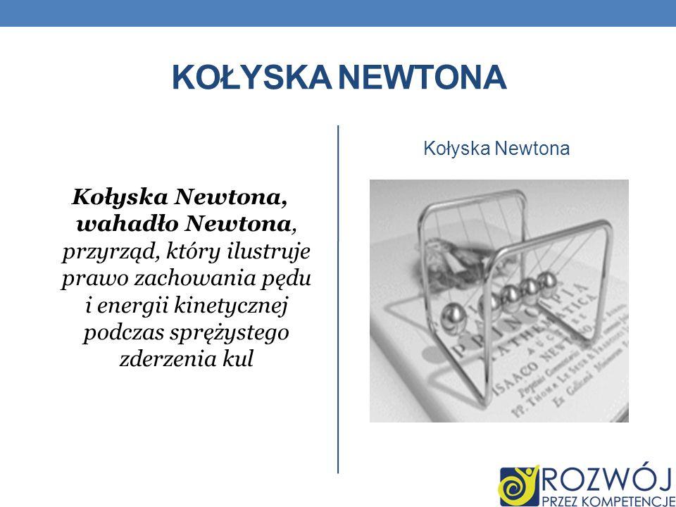 KOŁYSKA NEWTONA Kołyska Newtona, wahadło Newtona, przyrząd, który ilustruje prawo zachowania pędu i energii kinetycznej podczas sprężystego zderzenia