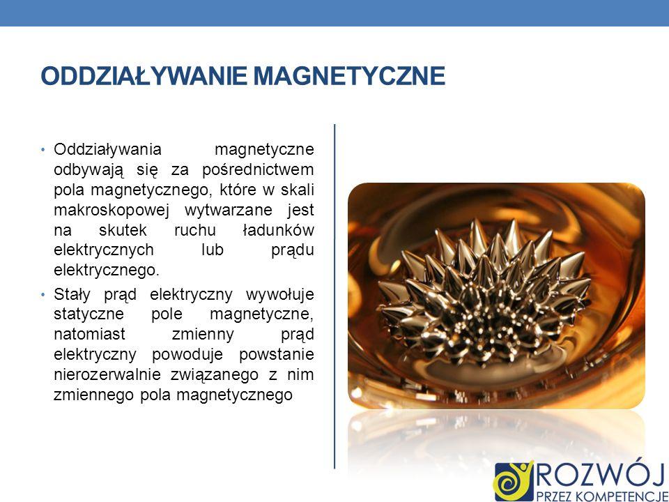 ODDZIAŁYWANIE MAGNETYCZNE Oddziaływania magnetyczne odbywają się za pośrednictwem pola magnetycznego, które w skali makroskopowej wytwarzane jest na s
