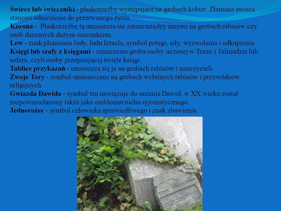 Świece lub świeczniki - płaskorzeźby występujace na grobach kobiet.