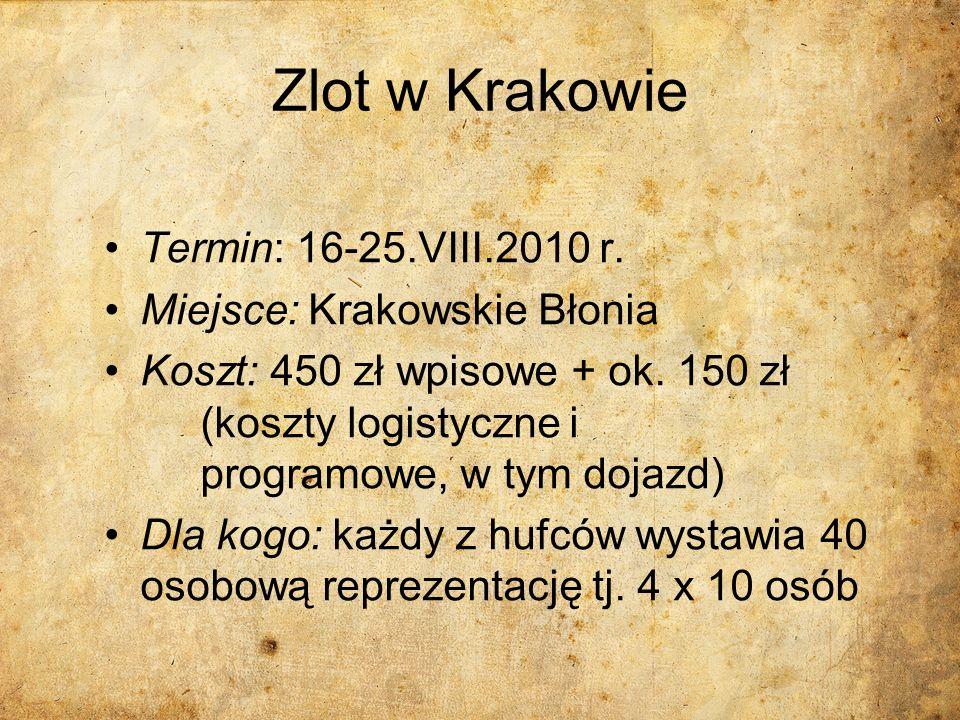 Zlot w Krakowie Termin: 16-25.VIII.2010 r. Miejsce: Krakowskie Błonia Koszt: 450 zł wpisowe + ok. 150 zł (koszty logistyczne i programowe, w tym dojaz