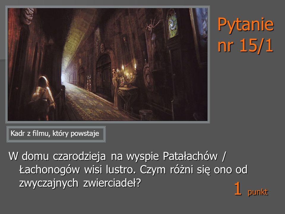 Pytanie nr 15/1 W domu czarodzieja na wyspie Patałachów / Łachonogów wisi lustro. Czym różni się ono od zwyczajnych zwierciadeł? Kadr z filmu, który p