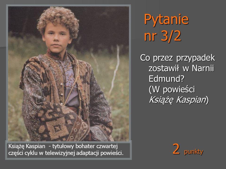 Pytanie nr 3/2 Co przez przypadek zostawił w Narnii Edmund? (W powieści Książę Kaspian) Książę Kaspian - tytułowy bohater czwartej części cyklu w tele