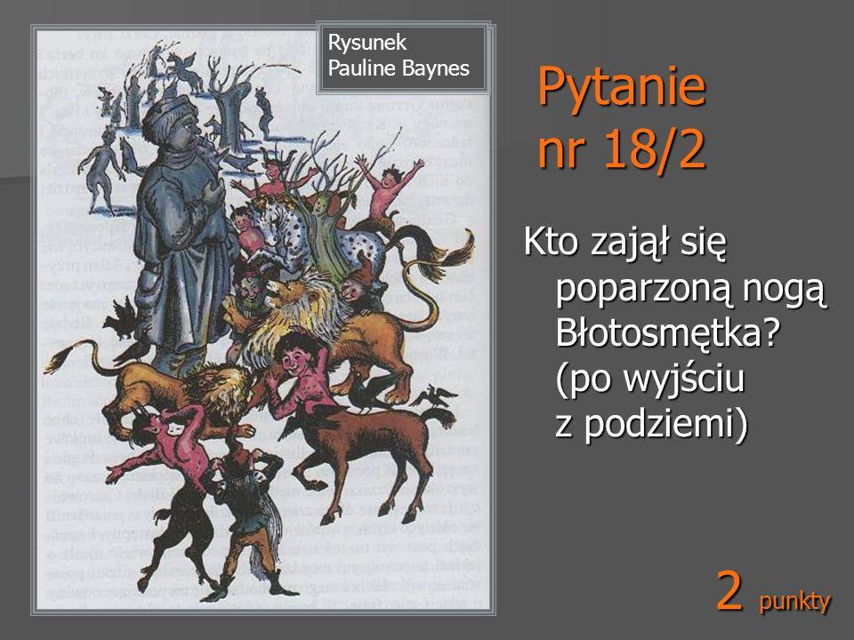 Pytanie nr 18/2 Kto zajął się poparzoną nogą Błotosmętka? (po wyjściu z podziemi) Rysunek Pauline Baynes 2 punkty