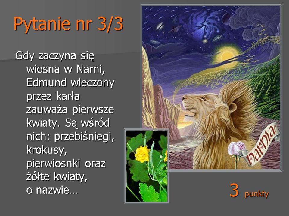 Pytanie nr 3/3 Gdy zaczyna się wiosna w Narni, Edmund wleczony przez karła zauważa pierwsze kwiaty. Są wśród nich: przebiśniegi, krokusy, pierwiosnki