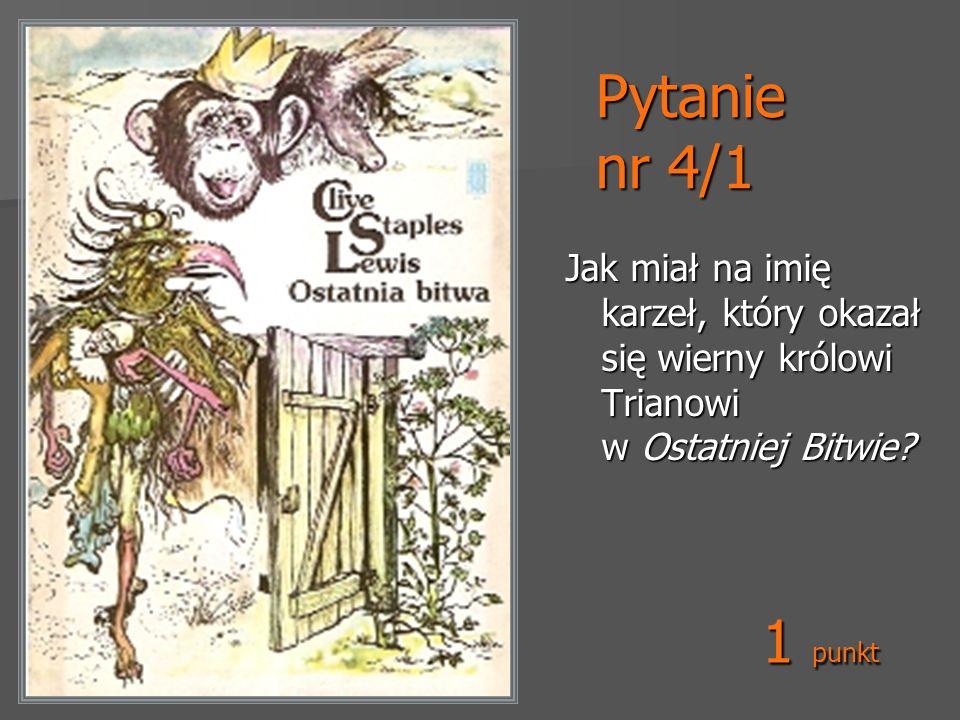 Pytanie nr 5/1 Jak miał na imię kruk, który był posłem w Taszbaanie wraz z Zuzanną i Edmundem (w książce Koń i jego chłopiec) Rysunek Pauline Baynes 1 punkt