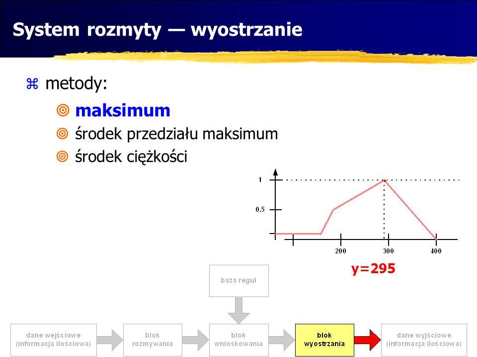 metody: maksimum środek przedziału maksimum środek ciężkości System rozmyty wyostrzanie y=295