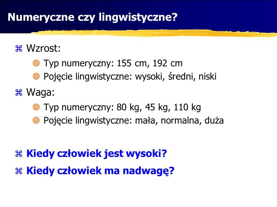 Wzrost: Typ numeryczny: 155 cm, 192 cm Pojęcie lingwistyczne: wysoki, średni, niski Waga: Typ numeryczny: 80 kg, 45 kg, 110 kg Pojęcie lingwistyczne:
