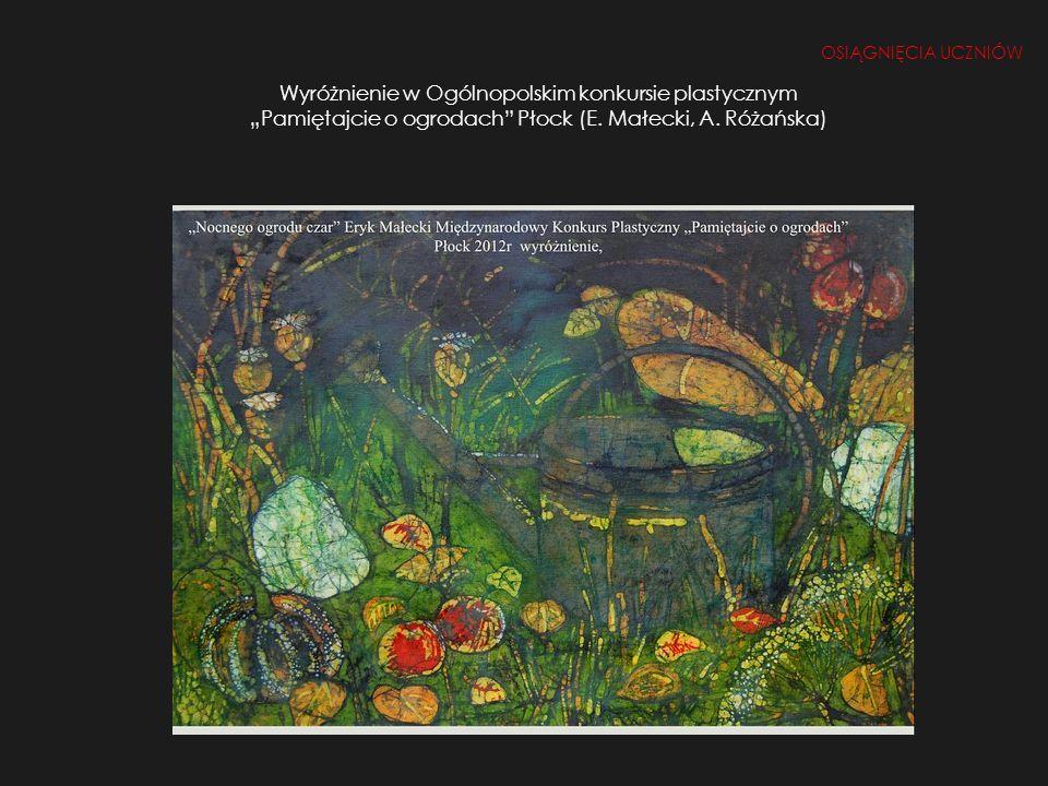 Wyróżnienie w Ogólnopolskim konkursie plastycznym Pamiętajcie o ogrodach Płock (E. Małecki, A. Różańska) OSIĄGNIĘCIA UCZNIÓW