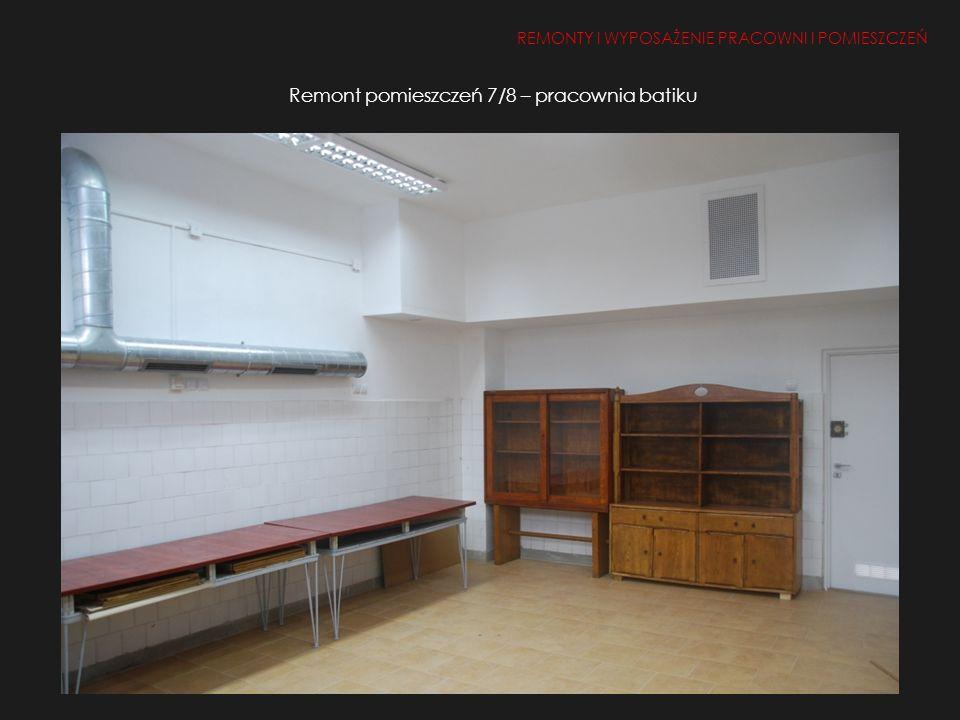Remont pomieszczeń 7/8 – pracownia batiku REMONTY I WYPOSAŻENIE PRACOWNI I POMIESZCZEŃ 1.Remont i doposażenie pracowni i pomieszczeń 2, 50, 26