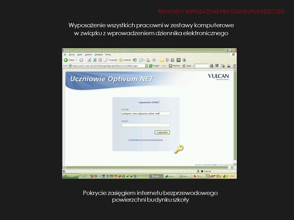 Wyposażenie wszystkich pracowni w zestawy komputerowe w związku z wprowadzeniem dziennika elektronicznego REMONTY I WYPOSAŻENIE PRACOWNI I POMIESZCZEŃ