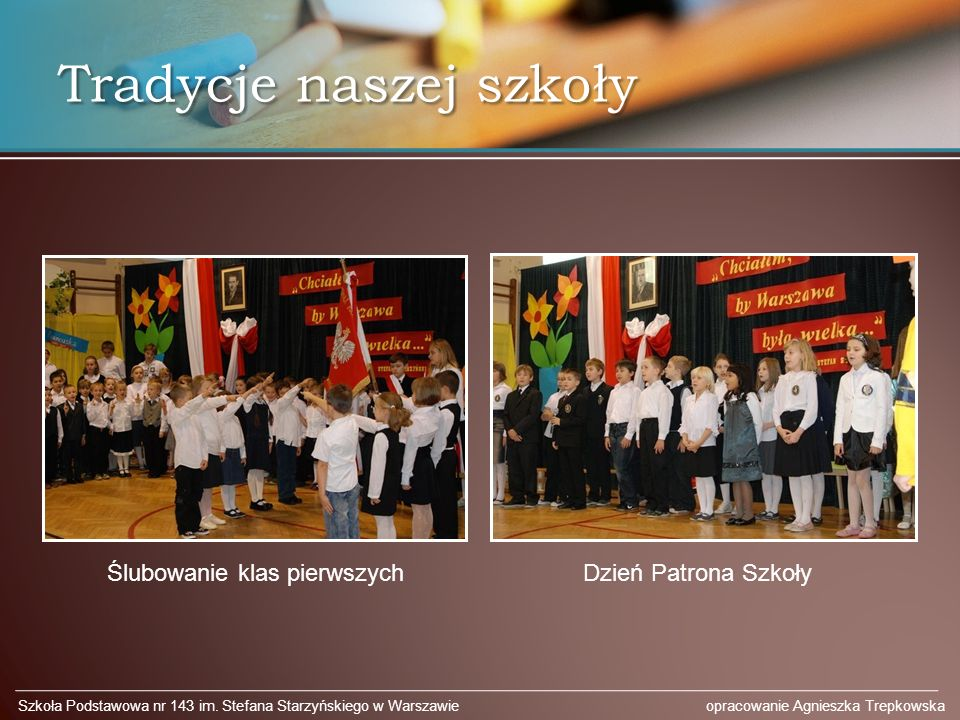 Tradycje naszej szkoły Szkoła Podstawowa nr 143 im.