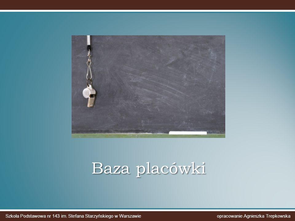 Baza placówki Szkoła Podstawowa nr 143 im. Stefana Starzyńskiego w Warszawie opracowanie Agnieszka Trepkowska