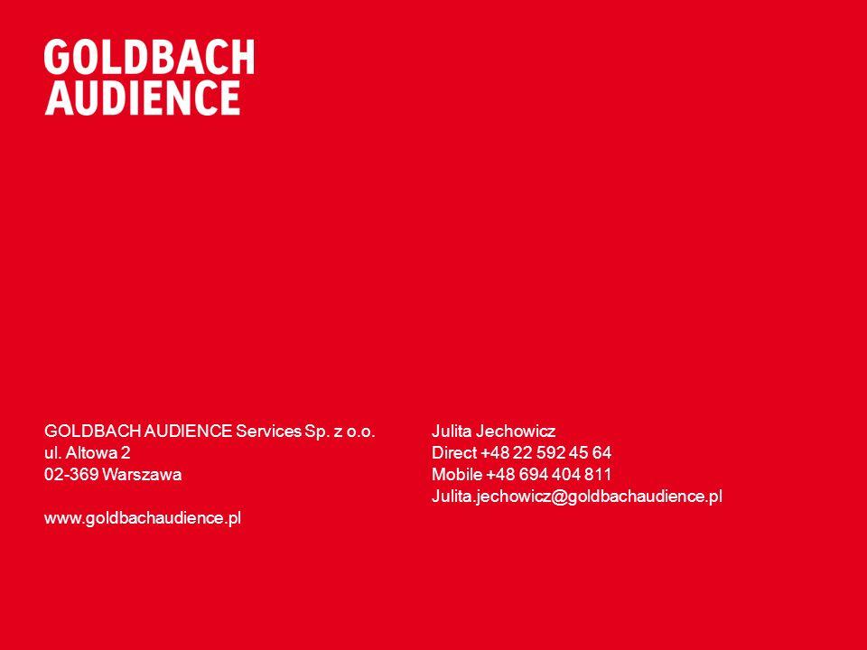 GOLDBACH AUDIENCE Services Sp. z o.o. ul. Altowa 2 02-369 Warszawa www.goldbachaudience.pl Julita Jechowicz Direct +48 22 592 45 64 Mobile +48 694 404