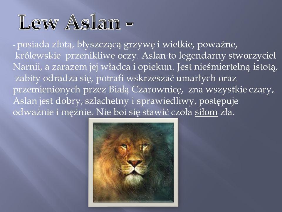 - posiada złotą, błyszczącą grzywę i wielkie, poważne, królewskie przenikliwe oczy. Aslan to legendarny stworzyciel Narnii, a zarazem jej władca i opi