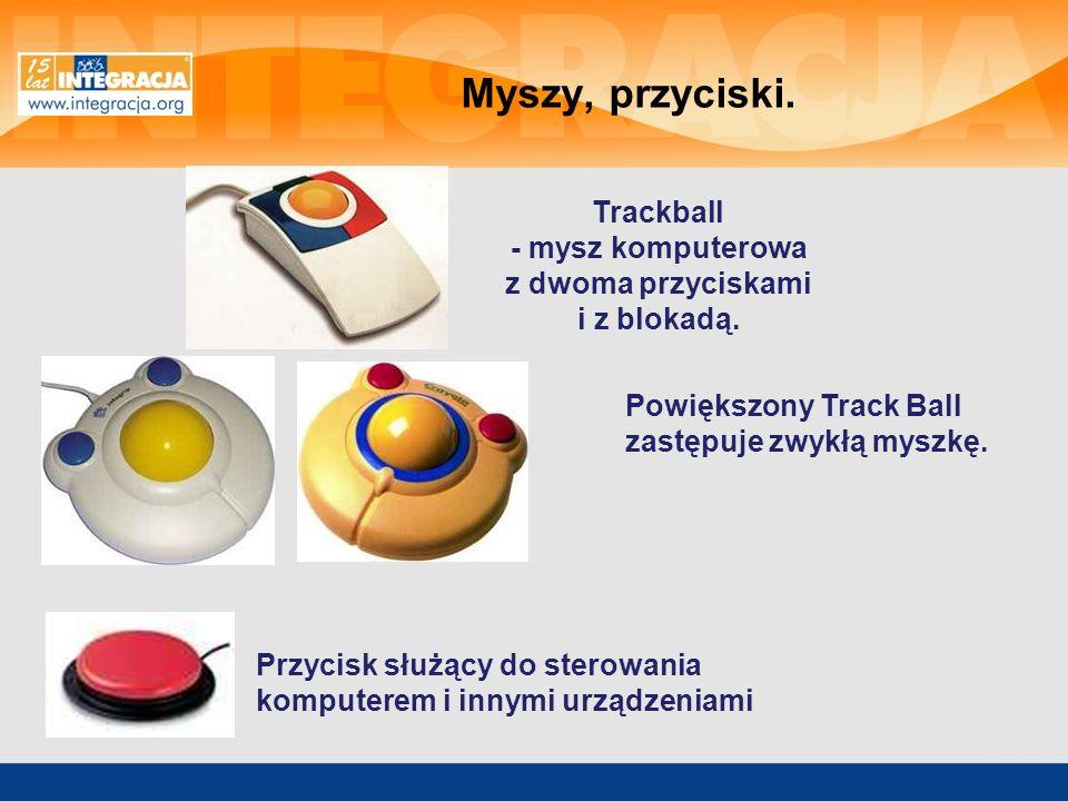 Przycisk służący do sterowania komputerem i innymi urządzeniami Powiększony Track Ball zastępuje zwykłą myszkę. Trackball - mysz komputerowa z dwoma p