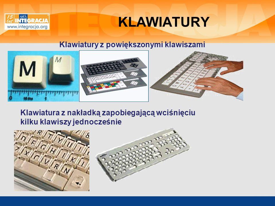 Klawiatura dotykowa, alternatywna z nakładkami Klawiatura dla osób piszących jedną ręką Klawiatura o specjalnym kształcie i układzie do pisania za pomocą głowy lub ust