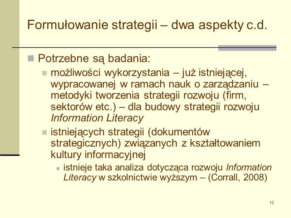 14 Formalna struktura strategii Konteksty Misja Wizja Cele Działania Standardy i wskaźniki Decydenci Studia przypadków Bibliografia