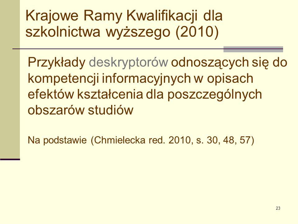 23 Krajowe Ramy Kwalifikacji dla szkolnictwa wyższego (2010) Przykłady deskryptorów odnoszących się do kompetencji informacyjnych w opisach efektów ks