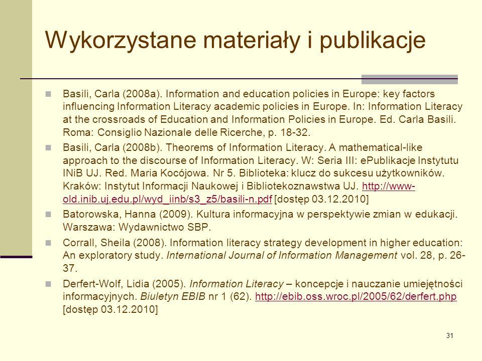 32 Wykorzystane materiały i publikacje IFLA (2010).