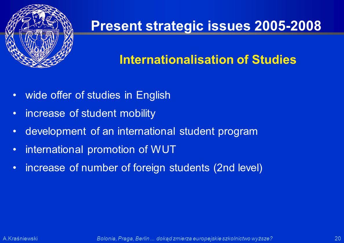20 Bolonia, Praga, Berlin... dokąd zmierza europejskie szkolnictwo wyższe?A.Kraśniewski wide offer of studies in English increase of student mobility