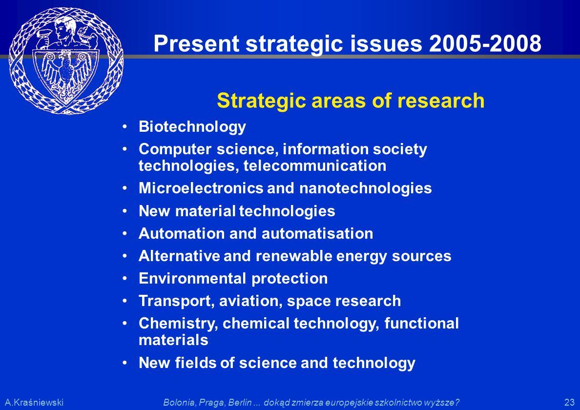 23 Bolonia, Praga, Berlin... dokąd zmierza europejskie szkolnictwo wyższe?A.Kraśniewski Present strategic issues 2005-2008 Strategic areas of research