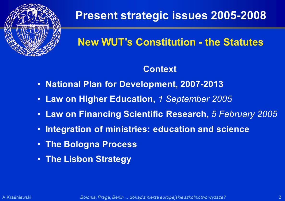 3 3Bolonia, Praga, Berlin... dokąd zmierza europejskie szkolnictwo wyższe?A.Kraśniewski Context National Plan for Development, 2007-2013 Law on Higher