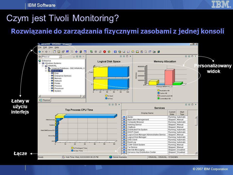 IBM Software © 2007 IBM Corporation Czym jest Tivoli Monitoring? Łącze Personalizowany widok Łatwy w użyciu interfejs Rozwiązanie do zarządzania fizyc