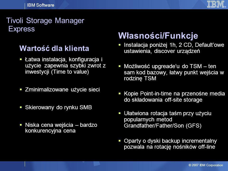 IBM Software © 2007 IBM Corporation Tivoli Storage Manager Express Wartość dla klienta Łatwa instalacja, konfiguracja i użycie zapewnia szybki zwrot z