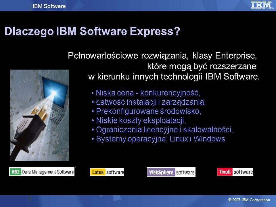 IBM Software © 2007 IBM Corporation Dlaczego IBM Software Express? Pełnowartościowe rozwiązania, klasy Enterprise, które mogą być rozszerzane w kierun