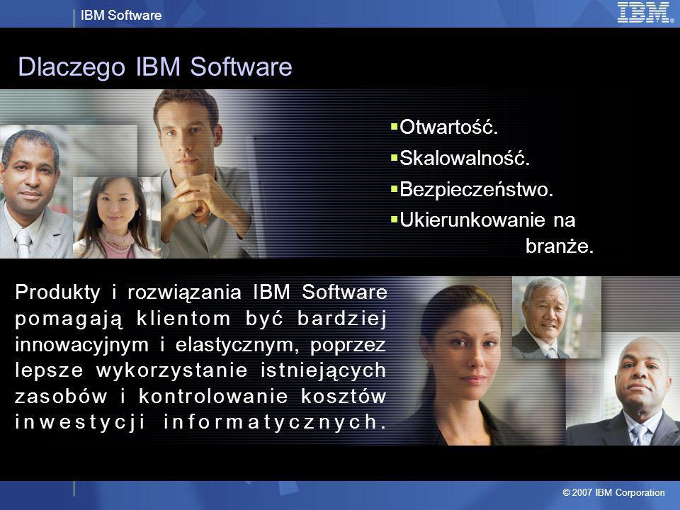 IBM Software © 2007 IBM Corporation 3 IBM and Open Source: Products & Technologies Collaborative Innovation Contribute Harvest Support Integrate Linux Apache, Geronimo Eclipse Globus Xen Eclipse Derby Firefox accessibility RUP subset OSDL Patent Commons eclipse.org aperi.org Geronimo/ WAS CE Linux WAS CE: Gluecode Zend Core/ DB2: PHP Apache=>WebSphere Derby=>Cloudscape Eclipse=>Workplace Geronimo=>Gluecode Linux=>IBM middleware Linux=>IBM servers Linux=>Applications Eclipse=>Rational Geronimo=>WAS Derby=>DB2 Eclipse=>Rational RUP subset =>RMC IGS Support/Training Open Source Stacks Embed Layer Extend Participate..Donate..Sponsor..