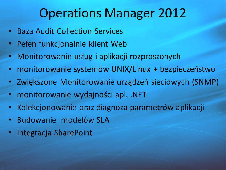 Operations Manager 2012 Baza Audit Collection Services Pełen funkcjonalnie klient Web Monitorowanie usług i aplikacji rozproszonych monitorowanie syst