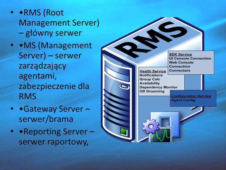 RMS (Root Management Server) – główny serwer MS (Management Server) – serwer zarządzający agentami, zabezpieczenie dla RMS Gateway Server – serwer/brama Reporting Server – serwer raportowy,