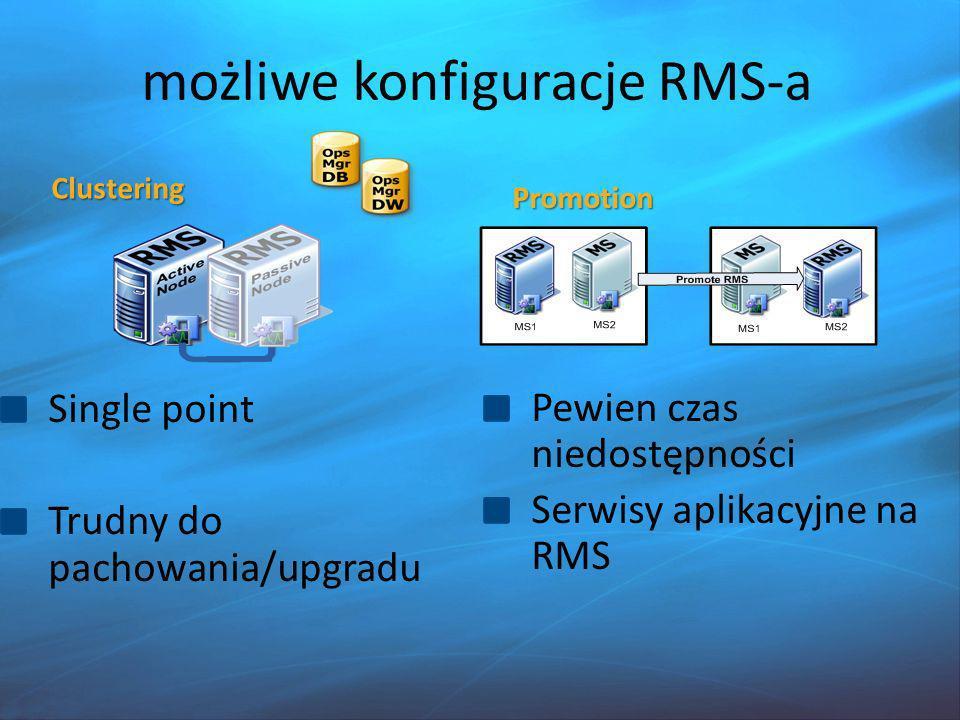 SCOM 2007 R2 Baza Audit Collection Services Uboga konsola Web Monitorowanie usług i aplikacji rozproszonych monitorowanie systemów UNIX/Linux Monitorowanie urządzeń sieciowych (SNMP) Kolekcjonowanie oraz diagnoza parametrów aplikacji Budowa modelów SLA Ograniczona integracja SharePoint