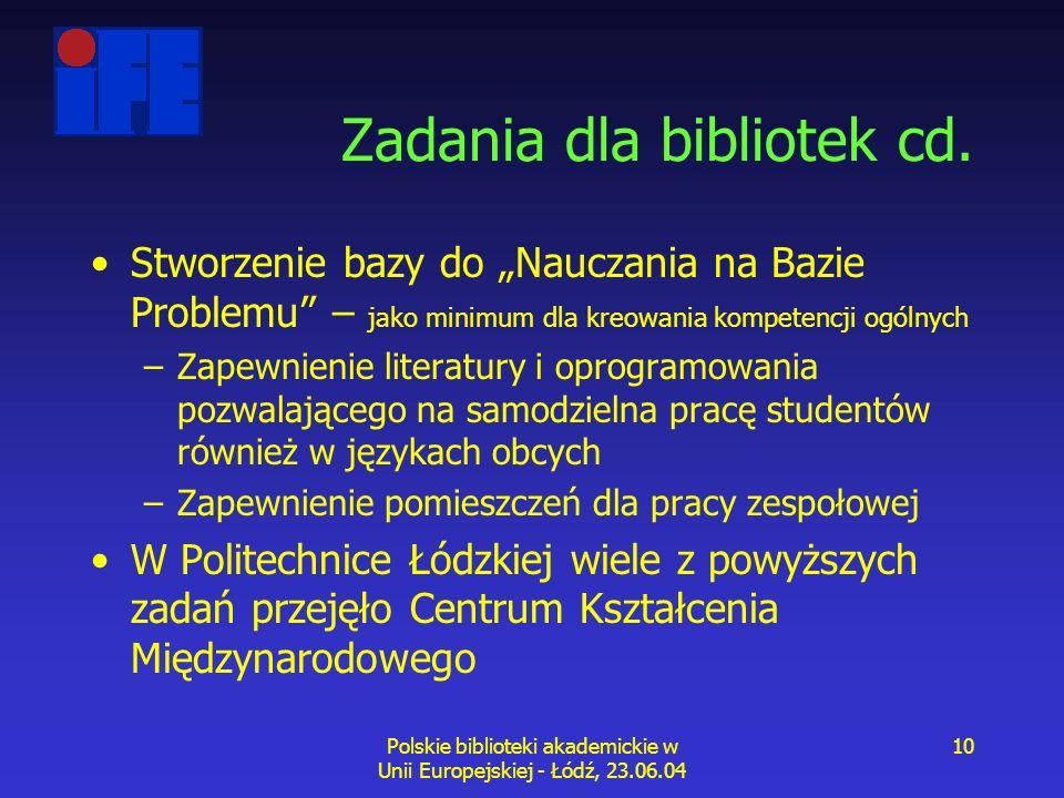 Polskie biblioteki akademickie w Unii Europejskiej - Łódź, 23.06.04 10 Zadania dla bibliotek cd.