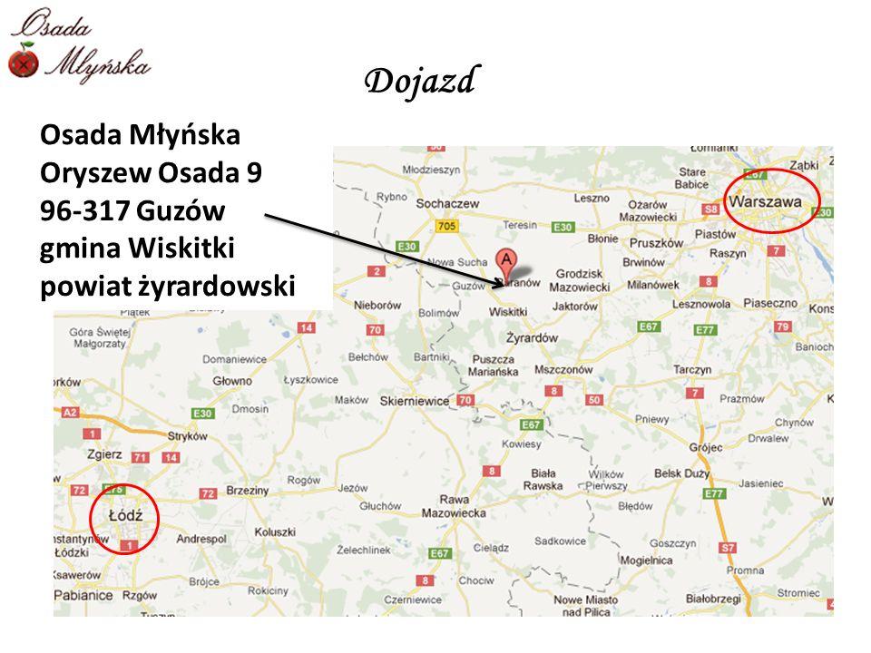 Osada Młyńska Oryszew Osada 9 96-317 Guzów gmina Wiskitki powiat żyrardowski Dojazd