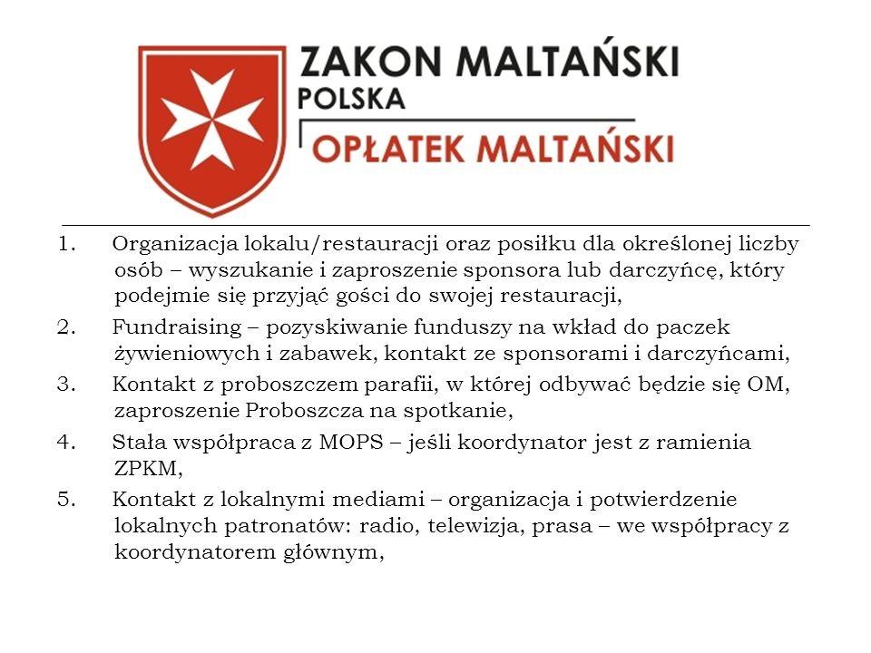 1. Organizacja lokalu/restauracji oraz posiłku dla określonej liczby osób – wyszukanie i zaproszenie sponsora lub darczyńcę, który podejmie się przyją