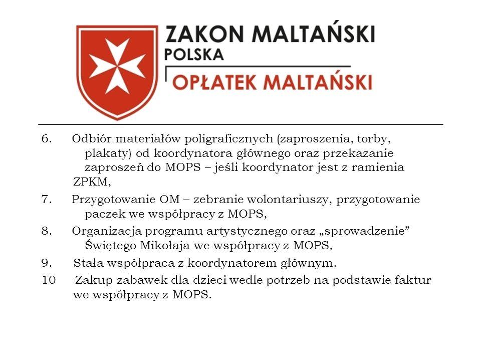 6. Odbiór materiałów poligraficznych (zaproszenia, torby, plakaty) od koordynatora głównego oraz przekazanie zaproszeń do MOPS – jeśli koordynator jes