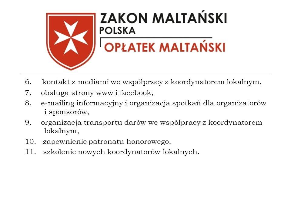 6. kontakt z mediami we współpracy z koordynatorem lokalnym, 7.