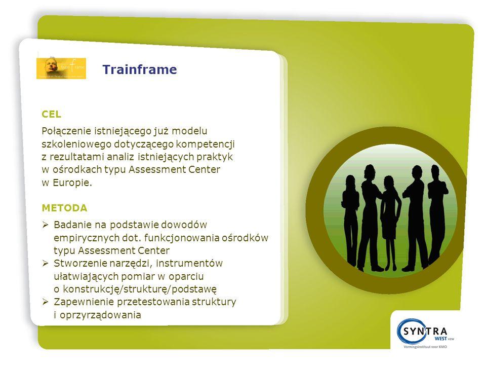 CEL Połączenie istniejącego już modelu szkoleniowego dotyczącego kompetencji z rezultatami analiz istniejących praktyk w ośrodkach typu Assessment Center w Europie.